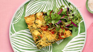 Haloumi, roasted pumpkin and spinach frittata