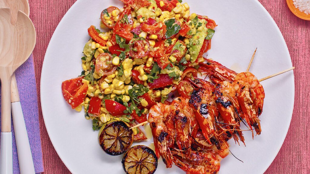 Mexican super bowl with skewered prawns