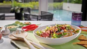 Thai Roo salad with sweet potato crackers